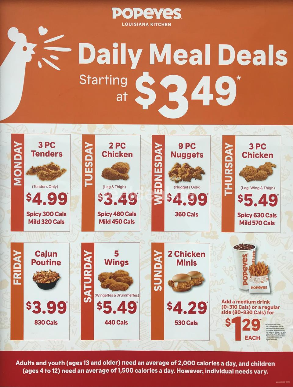 Popeyes Canada Daily Deals 2021
