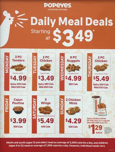 Popeyes Canada Daily Deals 2020
